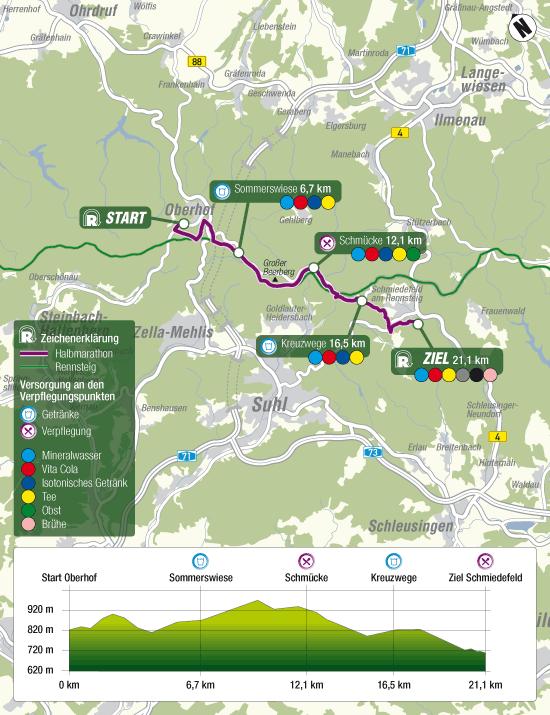 Bild: Streckenkarte Halbmarathon