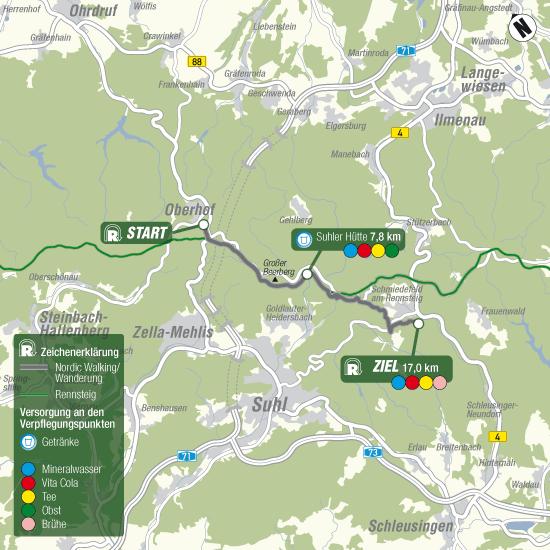Bild: Streckenführung Familienwanderung 17km